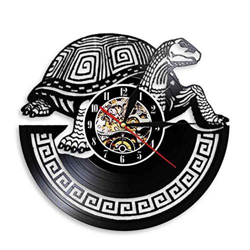 WWZY Tortuga Vieja Reloj Pared Vinilo Mural Movimiento Cuarzo Retro Silencioso Hecho A Mano Artesanía Diseño Decoración del Hogar No LED