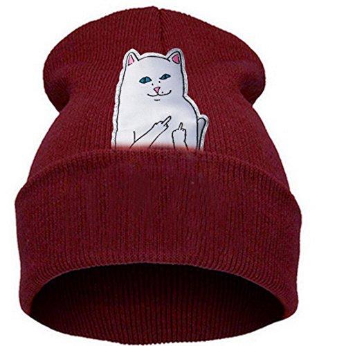 Belsen Damen aufrecht Mittelfinger Katze Hiphop Beanie Strick Mütze Skull Cap (Rotwein)