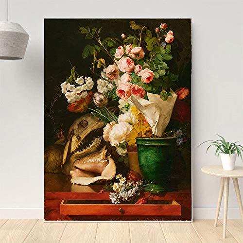 sanzangtang Stillleben Wandbild Leinwand Kunst Poster Aquarell-Rahmenlose Malerei30X40cm