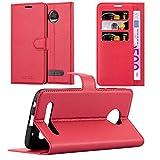 Cadorabo Hülle für Motorola Moto Z2 Force - Hülle in Karmin ROT – Handyhülle mit Kartenfach & Standfunktion - Hülle Cover Schutzhülle Etui Tasche Book Klapp Style