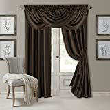 Elrene Home Fashions Versailles Faux Silk Room Darkening & Energy Efficient Lined Rod Pocket Window Curtain Drape Pleated Solid Panel, 52' x 95' (1, Chocolate Brown