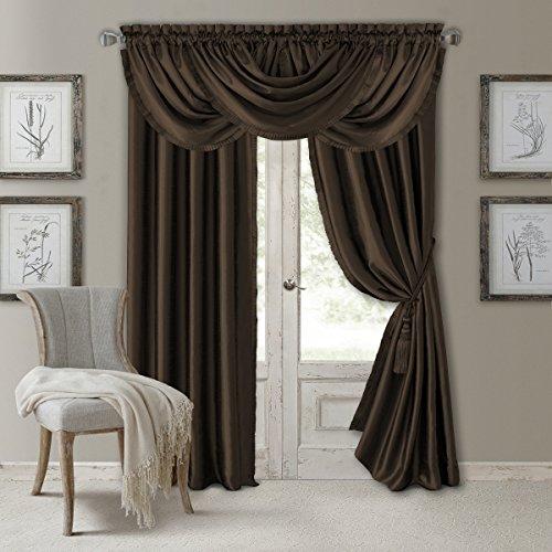 "Elrene Home Fashions Versailles Faux Silk Room Darkening & Energy Efficient Rod Pocket Window Curtain Solid Panel, 52"" x 95"" (1, Chocolate Brown"