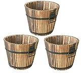 QSDGFH Juego de 3 macetas de madera, con mango para macetas de flores, contenedor de agua, para jardín, jardín, patio, interior y decoración del hogar
