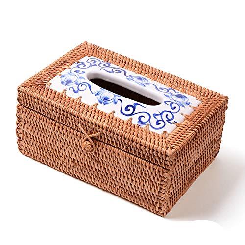 smile-bi 8styles Rattan Handicraft Woven Tissue Box for Car Antique Noble Tissue Case Holder Home Decoration Wedding Gifts,g