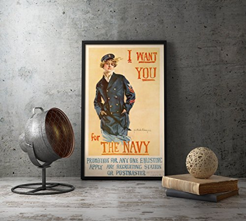 UpCrafts Studio Design American WW2 Propaganda Poster, Size 8.3 x 11.7 inches - I Want You for The Navy - WWII USMC Recruiting Recruitment Naval Replicas Prints