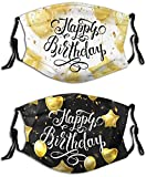 Happy Birthday Background With Golden Balloons And 2pcs Fashion Face Mask With...