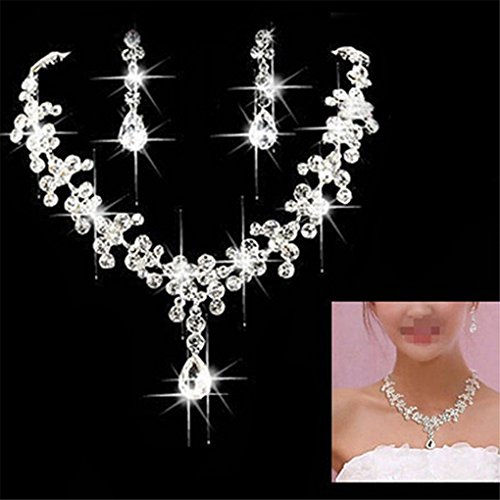 CanViUK Bride Wedding Bridal Ornament Crystal Pendant Necklace and Earrings Set, White