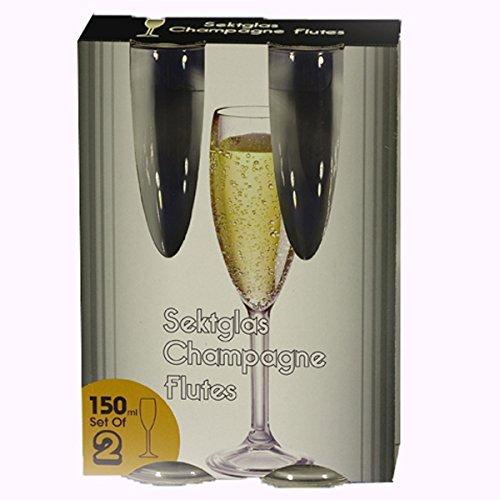 Siehe Beschreibung Polycarbonat Sektkelch klar 150 ml 2 Stück Kunststoff Camping Zubehör Sektglas Weinglas Trinkbecher Kelch Becher Trinkglas Wasserglas Weinkelch Goblet Bruchsicher