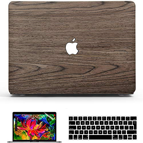 Belk MacBook Pro 13 inch Case M1 2021 2020 2019 2018 2017 Release,Slim Soft Wood Hard Shell Cover + Keyboard Cover + Screen Protector, MacBook Pro 2020 Case,Walnut