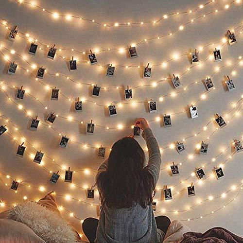 LED-Lichterkette, 2 0 LEDs, USB-Stecker-Lichterkette, 8 Modi, dimmbar, silberfarbenes Draht, mit Fernbedienung & Timer, blinkende Lichterkette für Schlafzimmer, Terrasse, Partys Warm White