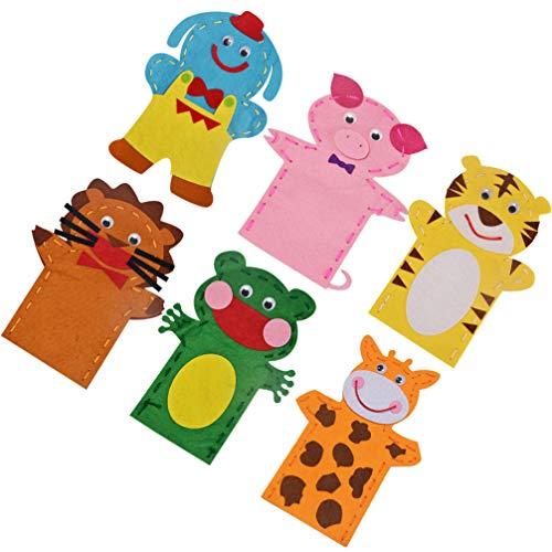 EXCEART 6 Piezas de Marionetas de Animales Kit de Costura Artesanal Kit DE FABRICACIÓN de Marionetas de Mano Kit de Fieltro para Niños Arte de Marionetas para Hacer Tus Propias Títeres