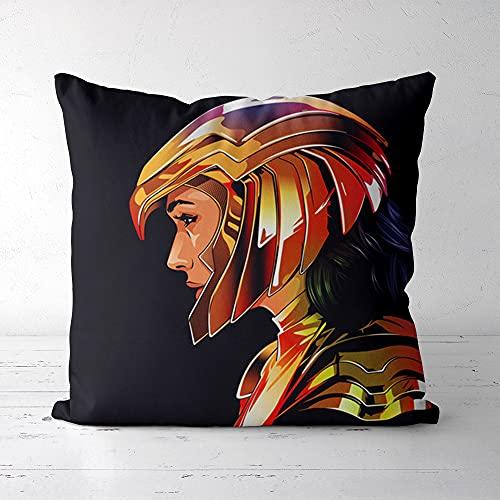 Almohada Estampada Exquisita y cómoda , Lisi Velvet 40x40cm Wonder Woman , Funda de Almohada Decorativa para sofá, Dormitorio, Coche (Incluido el núcleo de la Almohada)