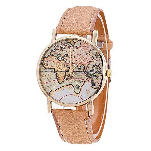 Ronamick - Reloj de pulsera para mujer, diseño de mapamundi con correa de piel, analógico, cuarzo, pulsera de reloj de pulsera