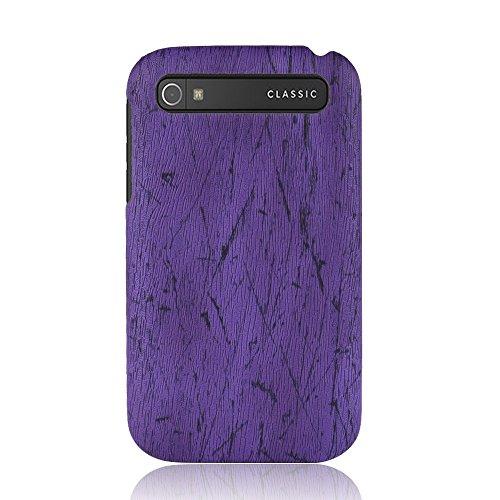 for BlackBerry Classic Q20 Case,PU Leather Case Back Cover Wood Grain - Purple