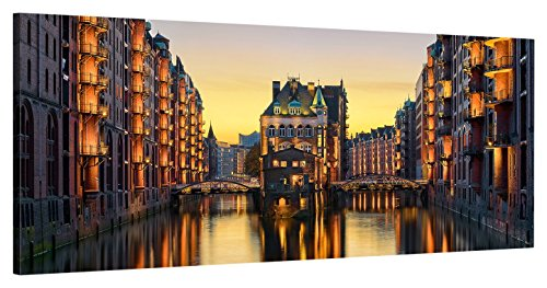 ge Bildet Leinwandbild zum Angebotspreis Stadtbilder Panorama Wasserschloss in der Speicherstadt - Hamburg - 100x40 cm einteilig -11 D