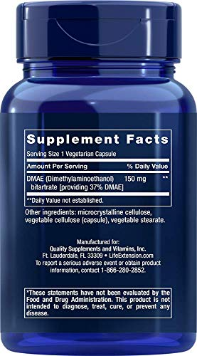 Life Extension DMAE Bitartrate (dimethylaminoethanol) 150 mg, 200 Vegetarian Capsules