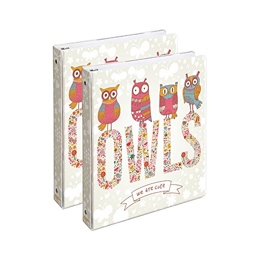 COMIX 2 Pack Letter Size, Heavy Duty Premium Designer 3 Round Ring Binder 1 Inch, (A2134) Back to School/Campus (Staring Owls)