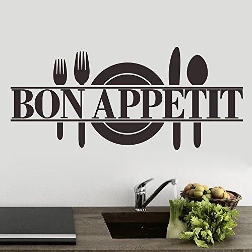 ufengke 'Bon Appetit Placa de Cuchillo y Tenedor Pegatinas de Pared, Cocina Comedor Removible Etiquetas de La Pared/Murales, Negro