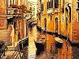 VIKMARI Kit de Pintura al óleo de Bricolaje para niños Kit de Pintura por números para Adultos Kits de Pintura por números Venice Town para decoración de Paredes 16 x 20 Pulgadas (sin Marco)