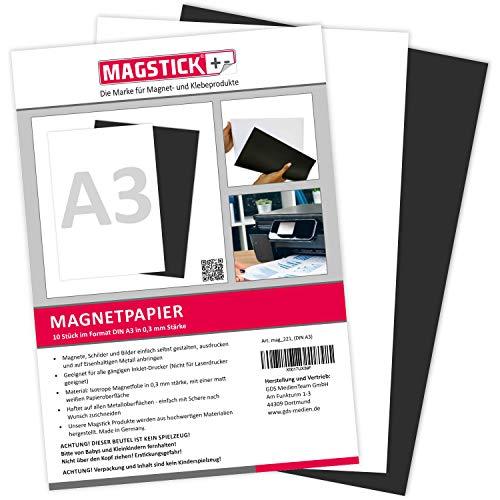 10er Set Magnetpapier I weiß I DIN A3 I DIY I magnetische Rückseite I mit gängigem Inkjet Drucker bedruckbar I zum Beschriften, bedrucken oder als magnetisches Foto-Papier I mag_221
