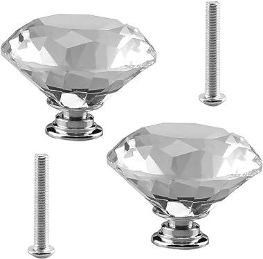 Crystal Door Knobs 2Pcs Dummy Door Knob Crystal Style Door Knob in Satin Nickel Finish Diameter 50mm for Closet and Hallway D