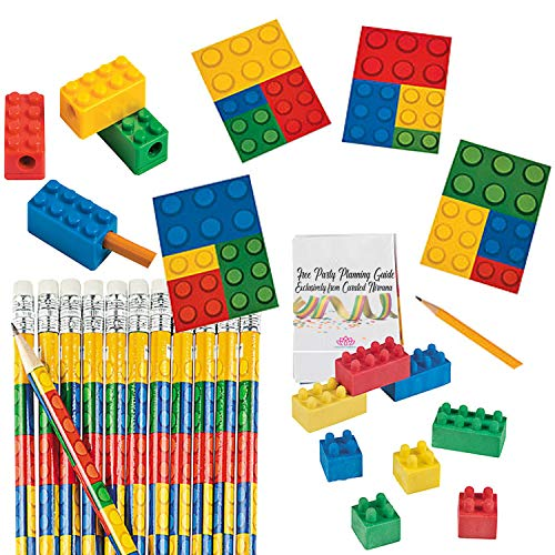 Building Bricks Party Favor Bundle for 24 Kids (96 Total Pieces) | Pencils, Colored Block Rubber Erasers, Pencil Sharpeners & Notepads | Birthdays, Class Prizes, Goody Bags, Stocking Stuffers