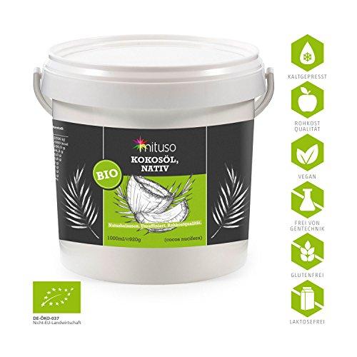 mituso Bio Kokosöl, nativ, DE-ÖKO-037, 1er Pack (1 x 1000 ml) im praktischen Eimer - 2