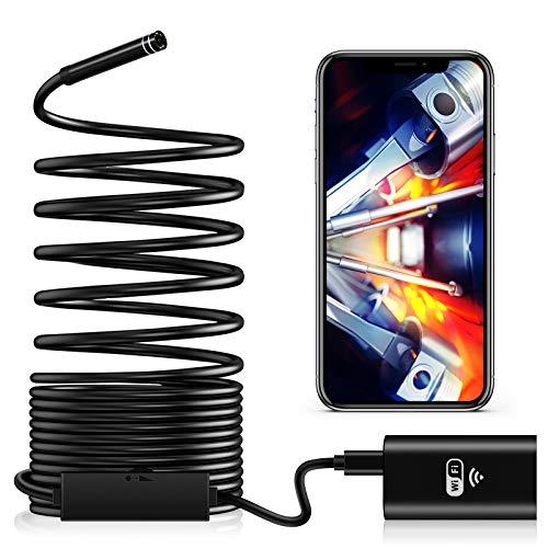 TAOPE Endoskopkamera WiFi, Inspektionskamera 2,0 Megapixel HD mit LED-Licht wasserdichte Endoskop Kamera Borescope Starre Schlangenkabel für Android iOS iPhone Tablet PC Smartphone - 3 Meter
