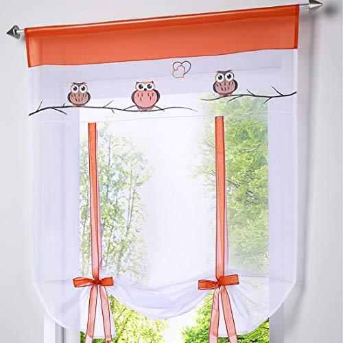 Eastery Gardinen Raffrollos Raffgardinen Voile Mit Tunnelzug Für Wohnzimmer Schlafzimmer Studierzimmer Einfacher Stil Eule Muster 1 Stück (80Bx100H cm Orange) (Color : Orange, Size : 80Bx100Hcm)