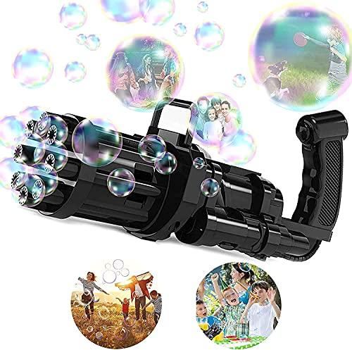 Gatling Bubble Machine Bubble Gun 2021 Cool Toys Gift, 8-Holes Huge Amount Bubble Maker, Summer Outdoor Activities Toys for Boys and Girls (Black)