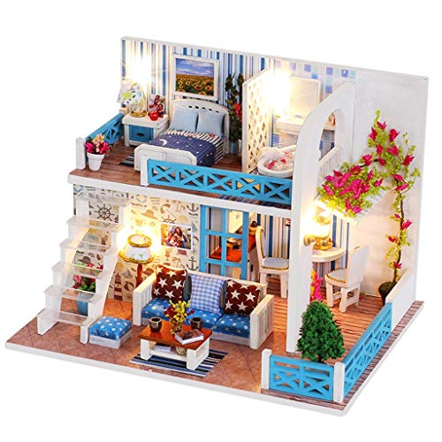 m·kvfa DIY Miniature Dollhouse Kit,Wooden Doll House Model Puzzle Dollhouse Furnitures Kids Toys Best Birthday for Women and Girls