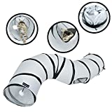 PetLike S Way Cat Tunnel Collapsible Pop-up Pet Tube Hideaway Play Toy with Ball (S-Way, Grey)