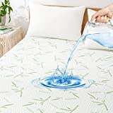 King Bamboo Waterproof Mattress Protector, Cooling Soft Mattress Pad Cover, Breathable Noiseless Waterproof Bed Cover-Stretch to 21' Safe Fitted Deep Pocket Mattress Protection Cover-Vinyl Free