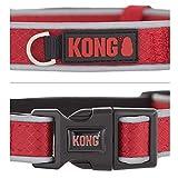 KONG Reflective Premium Neoprene Padded Dog Collar (Red, Large)