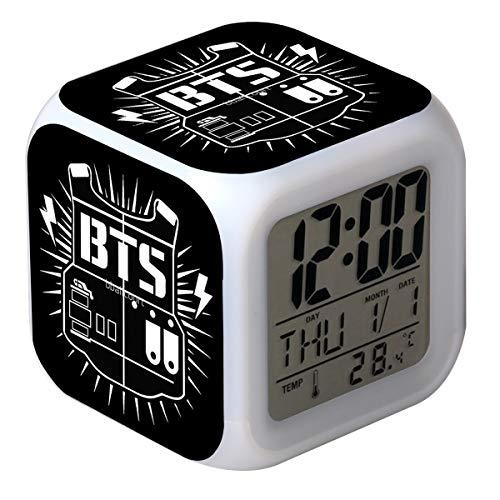CLXYA BTS Reloj Despertador digitalr 7 Colores Avanzado Junto a la Cama Reloj Despertador digitalr Despertar Reloj--Regalo para niños,001