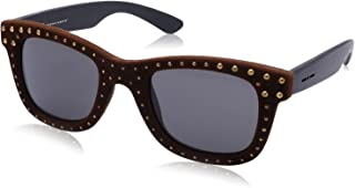 نظارة شمس بعدسات شبه مربعة اسود وشنبر مزين بفصوص للنساء من ايطاليا انديبندنت - بني