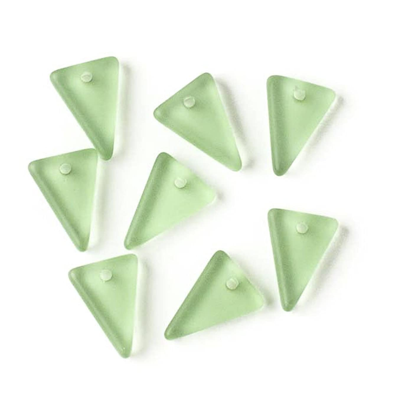 Cherry Blossom Beads Matte Peridot Green Cultured Sea Glass 13x18mm Triangle Pendants - 8 Pendants per Bag
