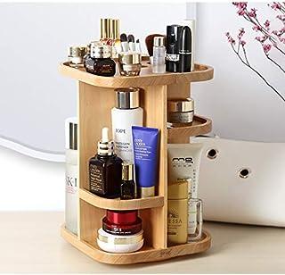 ILH Maquillage De Rotation En Bois Organisateur Grande Soins De La Peau Boîte De Rangement Support 360 Maquillage Affichag...