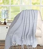 Premium Cotton Throw Blanket 50x60 Diamond Design for Sofa Chair Couch - All Season Cotton Throw Soft Warm Cozy - Grey,Farmhouse Throw,All Season Throw Blanket