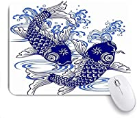 マウスパッド 個性的 おしゃれ 柔軟 かわいい ゴム製裏面 ゲーミングマウスパッド PC ノートパソコン オフィス用 デスクマット 滑り止め 耐久性が良い おもしろいパターン (波日本の鯉動物野生動物日本描画魚の絵淡水水アクティブ陽気です)