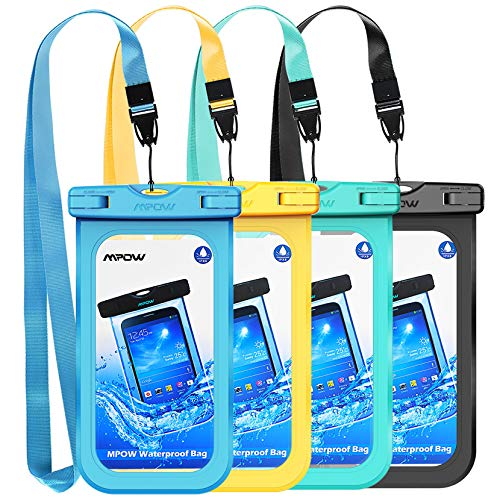 Mpow Universal Waterproof Case, 4-Pack Waterproof Phone Pouch Underwater Dry Bag Compatible for iPhone 11/Xs Max/XS/XR/X/8, Galaxy S20/S10/S9 Note 10/9, Google/HTC up to 6.8'(Blue Yellow Green Black)