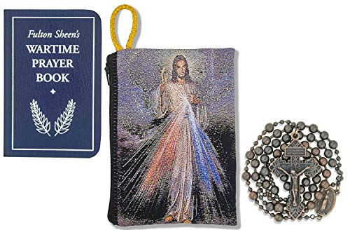 Military Rosary Gift Set with Fulton Sheen's 'Wartime Prayer Book' and Tapestry Rosary Pouch (Antique Copper, Divine Mercy 1)