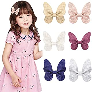 Liasun 6Pcs/set Butterfly Hair Clips Soft Litchi Grain PU with Alligator Clips Barrettes Hair Accessories for Baby Girls K...