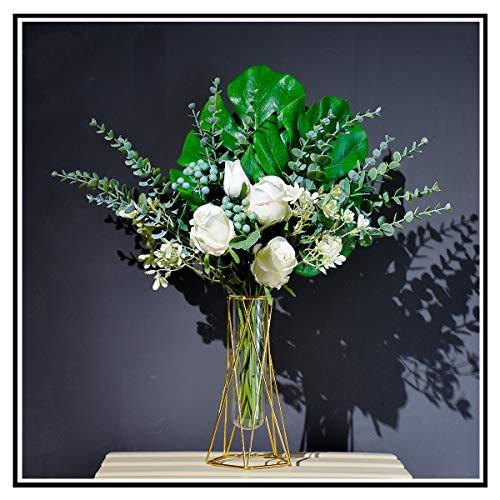 Flores artificiales en jarrón de seda falsas, rosas blancas decorativas flores artificiales, regalos de cumpleaños para mamá con jarrón y caja de regalo, flores de mesa, decoración de verano verde