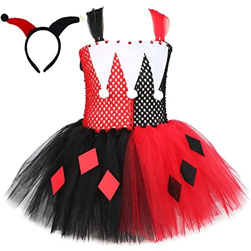 Freebily Disfraz de Payaso para Nia Disfraz Bruja de Halloween Carnaval Vestido Tut con Diadema Vestido Payaso Bufn Disfraz Cosplay Nia Rojo&Negro 5-6 aos