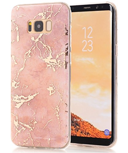 Galaxy S8 Case,Samsung Galaxy S8 Case,Spevert Marble Pattern Hybrid Hard Back Soft TPU Raised Edge Ultra-Thin Shock Absorption Scratch Proof Slim Protective Case for Samsung Galaxy S8 - Rose Gold
