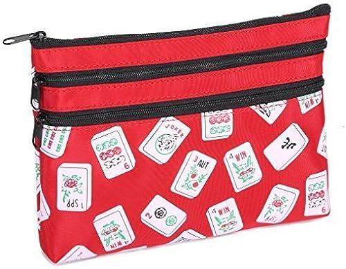 mejor calidad Mah Jongg rojo Color Tiles 3 3 3 Zipper Mah Jong Purse for Mahjong Card by BPG  ahorra hasta un 30-50% de descuento