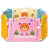 Costzon Baby Playpen, Kids 8 PE Panel, Cute Bear Pattern Safety Yard Activity Center, Colorful Cute Kids Playpen with Gate & Safety Lock, Portable PP Indoor Outdoor Play Fence (8 Panel, Small)