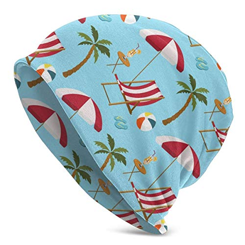 Tumbona Holiday Palm Flip Flop Beanie Hat Skull Cap Turbante elástico para Hombres y Mujeres