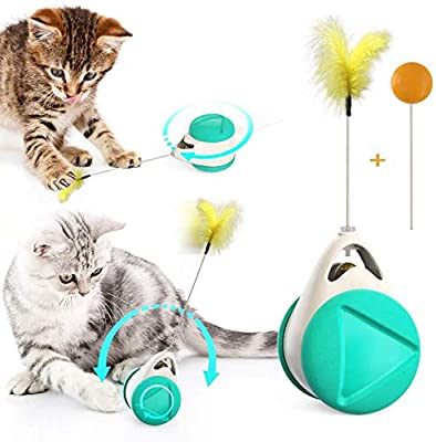 Bojafa Interactive Cat Catnip Toys, Cat Feather Toys for Indoor Cats Hunting, Self-Balanced Swing Kitten Toys (Green)